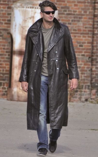 OFFICER BLACK LEATHER OVERCOAT