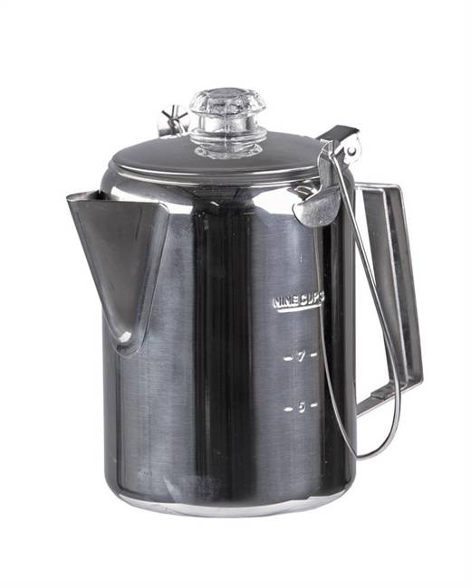 STAINLESS STEEL COFFEEPOT WITH PERCOLATOR (9 CUPS) - MILTEC